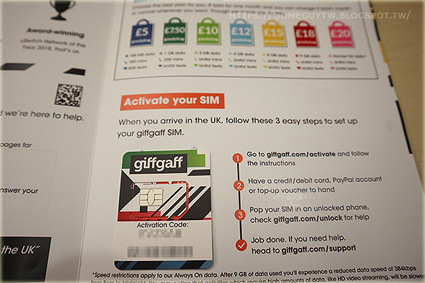 [英國上網SIM] 2020年超詳盡!giffgaff 台灣訂購/啟用/儲值/實際使用/測速經驗/漫遊分享與推薦