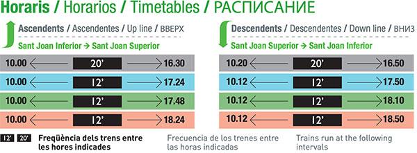 Rack rail timetable