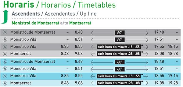 Rack railway timetable