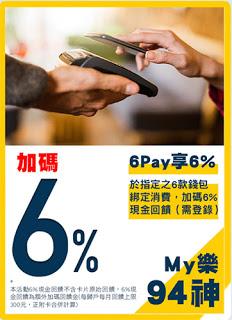 6Pay筆筆享回饋,My樂6%刷起來