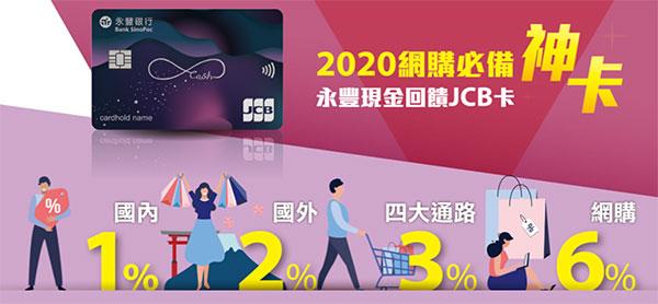 [網購信用卡] 永豐JCB現金回饋卡 最高6% 網購刷卡回饋