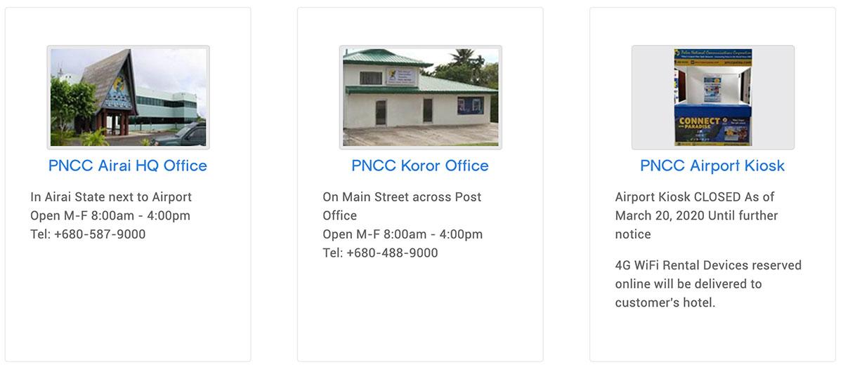 PNCC 服務中心位置(機場、柯羅州)、