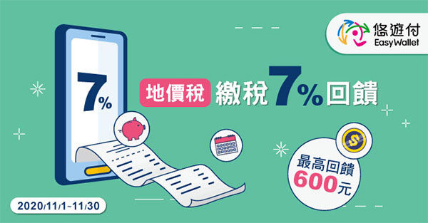 悠遊付繳台北市地價稅享7%+300元回饋