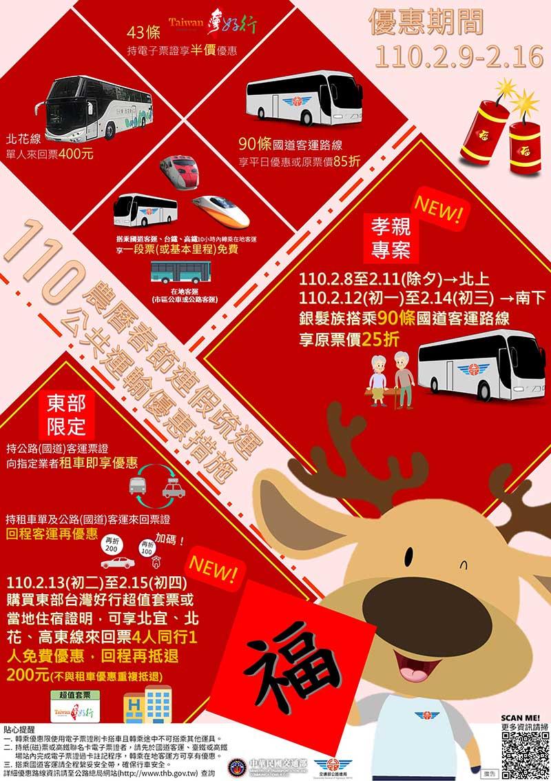 110年春節連假搭乘公路公共運輸享85折和多項優惠