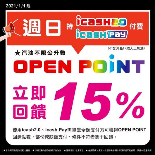 統一精工速邁樂加油站周日使用iCash/iCash Pay享15%回饋