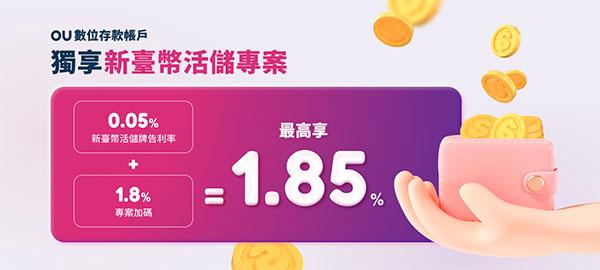 新光銀行 OU數位帳戶獨享 1.85% 活存利率